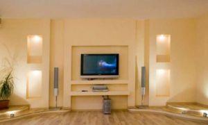 Простая в изготовлении ниша или полка под телевизор, сделанная из гипсокартона, своими руками