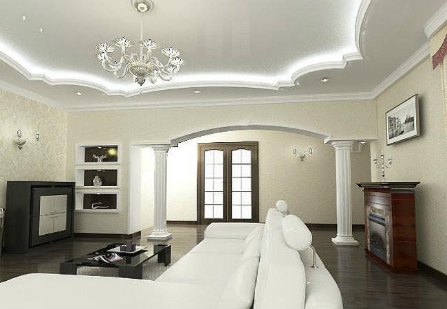 декоративные потолки в зале