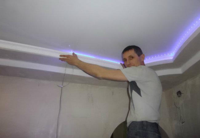 Видео как сделать натяжной потолок с подсветкой
