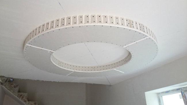монтаж круглого потолка