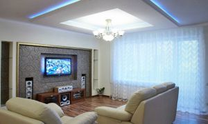 Зональная подсветка в гипсокартоне. На стене, на потолке, внутри порталов и за ТВ