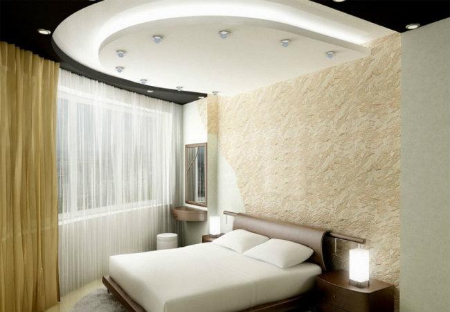 потолок из гипсокартона в спальной
