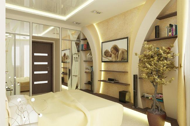 гипсокартонная конструкция в спальне